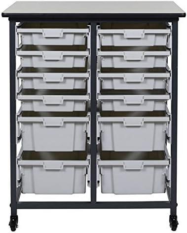 Luxor Furniture Mobile Bin Storage Unit – 8 Small and 4 Large Bins,Gray Black,Mobile Bin