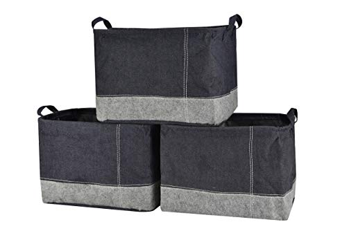 Perber Collapsible Storage Basket Bins [3-Pack],Foldable Denim&Felt Fabric Storage Box Cubes Containers with Handles- Large Organizer for Nursery Toys,Kids Room,Towels,Clothes, - Canvas Felt