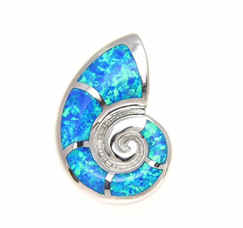 925 Sterling silver Hawaiian nautilus shell blue synthetic opal slider (Opal Shell Necklace)