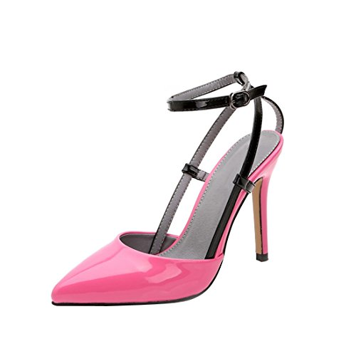 HooH Women's Patent Leather Ankle Strap Slingback Sandals Pumps Pink 2Pe7ixIKfQ