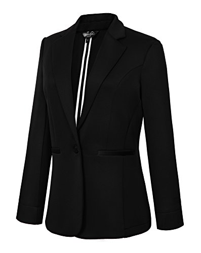 Women's Casual One Button Office Blazer Jacket (L, ()