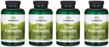 Swanson Saw Palmetto Herbal Supplement for Men Prostate Health Hair Supplement Urinary Health 540 mg 250 Capsules (4 Pack)