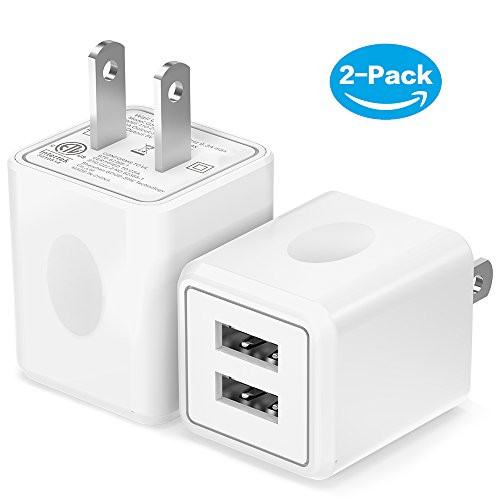 International Travel Charger Pack (USB Wall Charger,Moallia 2-Pack Dual Port USB Power Adapter Wall Charger Plug for iPhone X/8/7/7 Plus/6s/6s Plus, iPad Pro/Air, Samsung S9/S8/, HTC, LG, Huawei, Google Nexus and more)