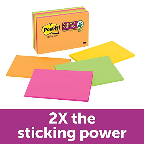Post-it Super Sticky Notes, 2x Sticking Power, 6 in x 4 in, Rio de Janeiro Collection, 8 Pads/Pack (6445-SSP) ()