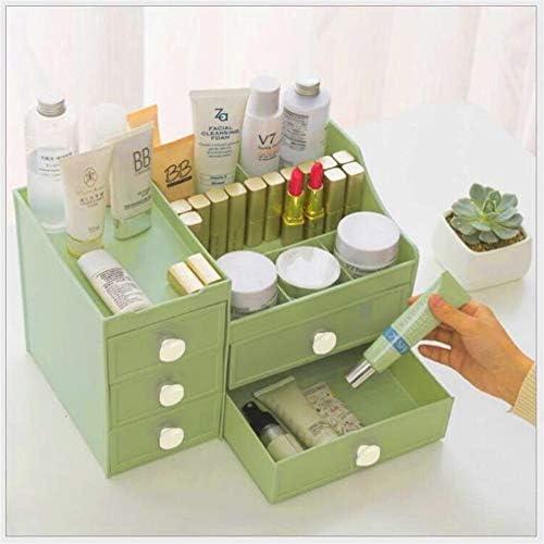 ZEZHE 化粧品ボックスのストレージボックス化粧品収納引き出し収納デスクトップラックドレッシングテーブルの仕上げ (Color : Green-a)