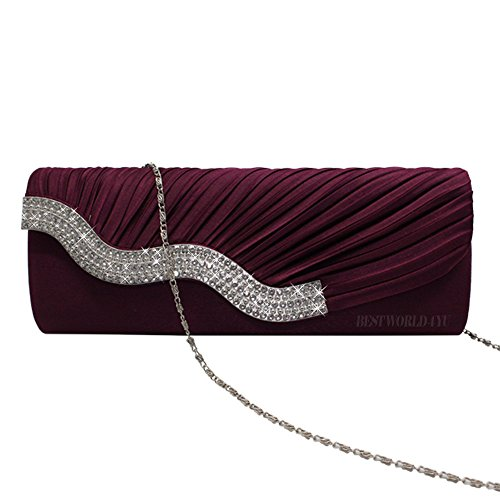 Clutch Party Wocharm Prom Womens Bag Purple Handbag Satin Wedding Ladies Evening Crystal Diamante xBxqHwZU