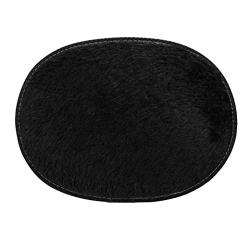 Price comparison product image SMYTShop Soft Indoor Modern Shag Area Silky Smooth Rugs Fluffy Rugs Anti-Skid Shaggy Area Rug Dining Room Home Bedroom Carpet Floor Mat 11.8 Inch By 15.7 Inch (Black)