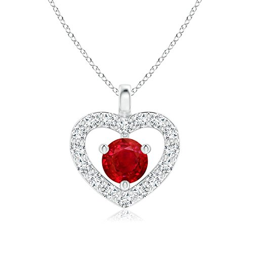 Solitaire Ruby Open Heart Pendant with Diamonds in 14K White Gold (3mm Ruby)