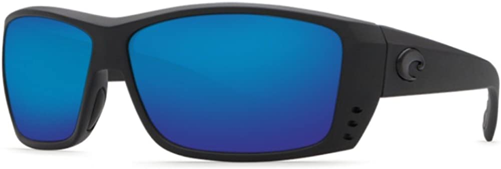 Costa Del Mar Men's Cat Cay Polarized Rectangular Sunglasses, Blackout/Grey Blue Mirrored Polarized-580P, 61 mm