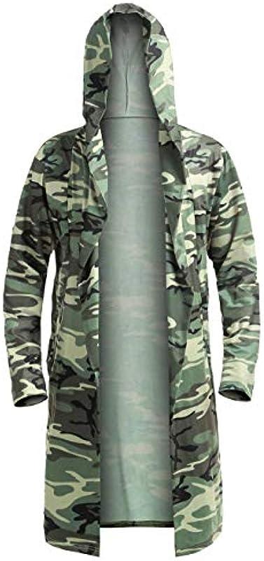 Sensiabl Fisoul męski casual, modny długi top z kapturem, jednokolorowy, dziki płaszcz, kamuflaż M.: Küche & Haushalt