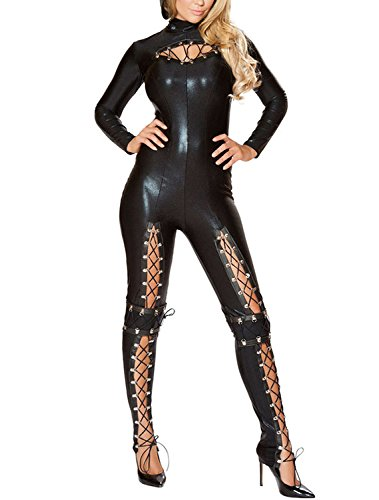 Fembots Costume (JE Women's Sexy Frisky Cat Costume Halloween Cosplay Black)