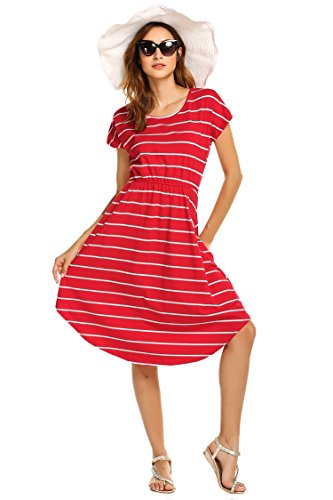 (Women's Summer Casual Stripe Elastic Waist Loose Beach Midi Dress (XS, red))