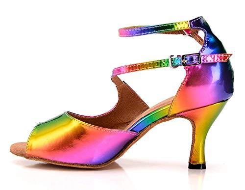 Salón Señoras Sandalias 5cm Tamaño Uk Heel Heel 7 Con La Estilo Baile Tqj5009 gold 5 Zapatos color Tango Noche 5cm Hhgold Sintético Multicolored 7 Rose Boda De Latino 0H57wgq