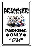 "DRUMMER Sign drum set instrument music sticks cymbals hi hat| Indoor/Outdoor | 12"" Tall"