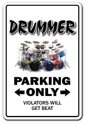 Drummer Novelty Sign drum set funny instrument gift music sticks cymbals hi