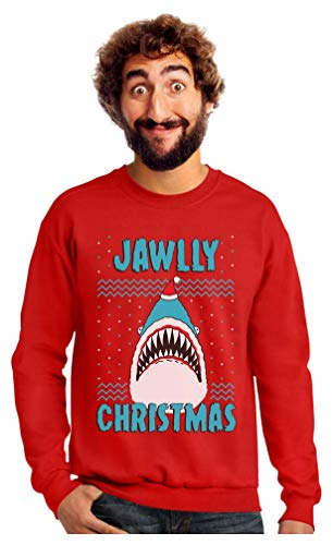 Jawlly Christmas Ugly Christmas Sweater for Xmas Party Shark Sweatshirt Large Red (Christmas Stupid Jumpers)