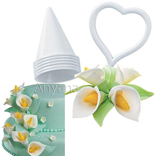 Anyana Calla Lily Former Set 7-pieces Flower Modelling pastry Cutter Gum Paste Flowers Cake Decorating Kit Sugarcraft Fondant Cake Clay Tool for Wedding Cake Cupcake Decor (Wedding Calla Lily Cake)