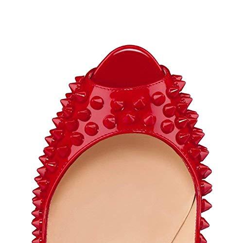 Tacco Tacchi Rosso Peep Pan Festa Donna Scarpe Pompe Sandali Slip Col Piattaforma On Caitlin Stiletti Alti Dress Toe Rivetto x1UCqaUWEw