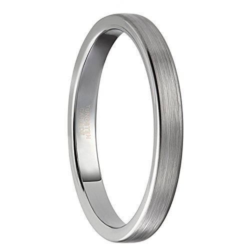 3 Mm Ring (3mm Womens Mens Silver Tungsten Rings Thin Matte Finish Wedding Bands Size 5.5)