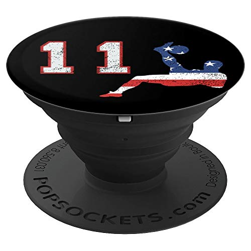 Soccer player number 11 with American USA flag bicycle kick - PopSockets Grip and Stand for Phones and Tablets