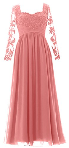 Maxi Long of Dress Gown MACloth Mother Bride Sleeves the Zartrosa Formal Evening Women XTxFO5
