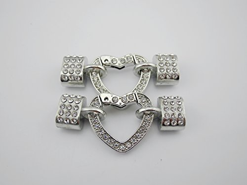 3 Sets Bracelet Clasps with Rhinestones and Heart Shaped Spring Clasps for Licorice Leather (Rhodium) Black Licorice Leather Bracelet