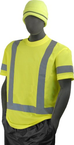 Majestic Glove 75-5303 Birdseye Polyester High Visibility Mesh Short Sleeve T-Shirt with Single Waist Stripes, 5X-Large, Yellow ()