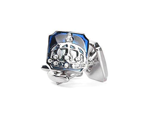 welbijoux Mens Cufflinks Unique Square Royal Crown Cufflinks Crystal Luxury French Shirts Silver Cufflinks for Men Blue Royal Crystal Cufflinks