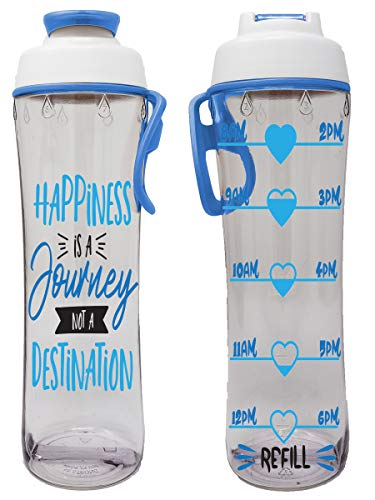BPA Free Reusable Water Bottle with Time Marker – Motivational Fitness Bottles – Hours Marked – Drink More Water Daily – Tracker Helps You Drink Water All Day -Made in USA (Happiness Journey, 24 oz.)