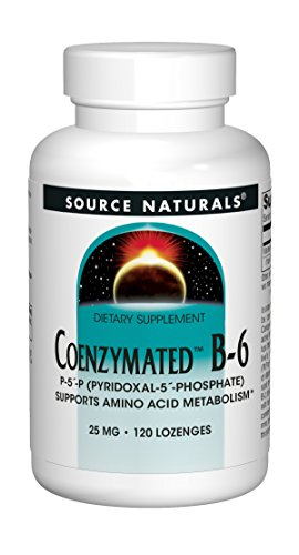 Source Naturals Coenzymated B-6 25mg P-5 Pyridoxal-5 Phosphate Fast-Acting, Quick Dissolve Sublingual Vitamin Supports Amino Acid Metabolism - 100 Lozenges