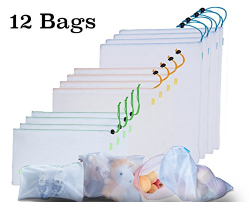 SiKOSS (12 Total Bag) Reusable Drawstring Mesh Produce Bags For Store Food, Fruit / Vegetable. BPA Free. Buy Your Washable Mesh Bags Set With Clamps TODAY