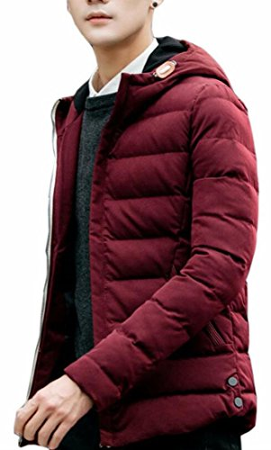 today-UK Men's Slim Casual Hooded Puffer Cotton Padded Waterproof Parka Coat Red