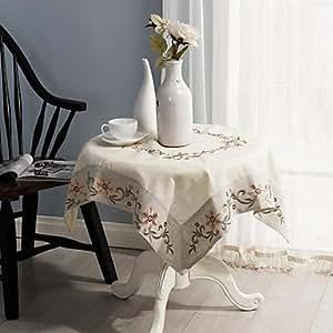 MEIHAO paños para mesa de Navidad clásica bordado mantel 85* 85cm