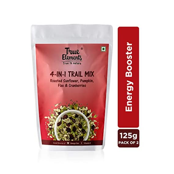 True Elements 4 in 1 Trail Mix Seeds (Roasted Sunflower, Pumpkin with Cranberries) 250 gm (125gm * 2)