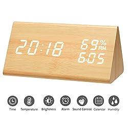 Mucjun Digital Alarm Clock, Voice Control Wooden Alarm Clock LED Light Minimalist Batteries or USB Charger Triangle Clock Display Time Date Humidity Temperature Bedside Clock