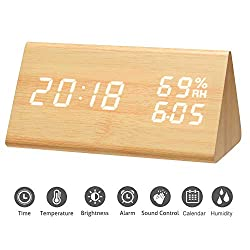 Mucjun Digital Alarm Clock Voice Control Wooden Alarm Clock Electric LED Light Minimalist Batteries or USB Charger Triangle Clock Display Time Date Humidity Temperature Bedside Clock - Bamboo