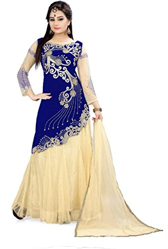 Dream Angel Fashion DreamAngel Blue Embroidered Work Velvet+Net Semi Stitched Gown Type Dress (Extra Large)
