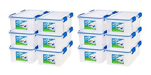 Ziploc 16 Qt./4 Gal. WeatherShield Storage Box, (12 Pack) Clear