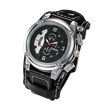 XKC-watches Relojes para Hombres, Los Hombres del Cuero Genuino de Banda Ancha Relojes