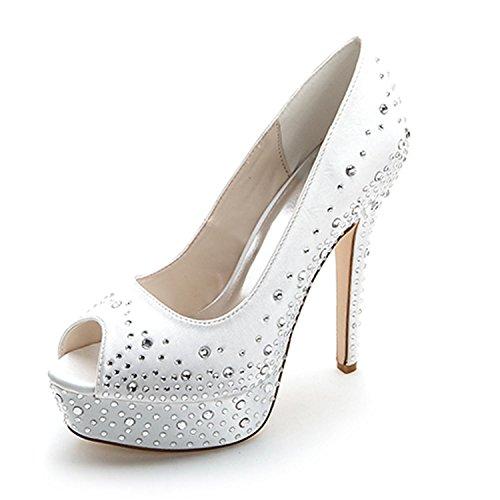 De Primavera Noche Novia yc Verano Invierno 17a Otoño Altos Vestidos Mujeres Rhinestone L Zapatos 3128 Y Con White Tacones IxXd7nXO