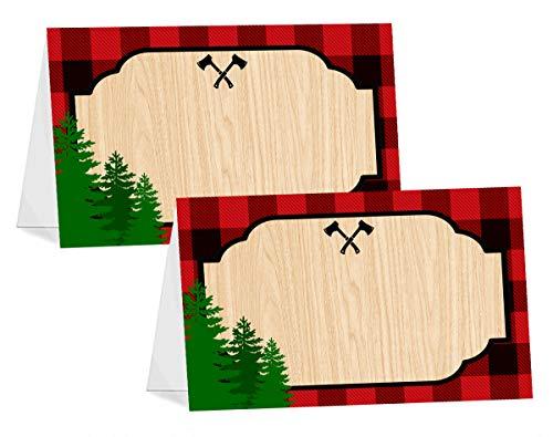 POP parties Lumberjack Table Tents - 12 Lumberjack Buffet Cards - Lumberjack Buffalo Plaid Place Cards - Lumberjack Decorations - Camping Party Decorations - Lumberjack Party Supplies (Best Place For 1st Birthday Party)