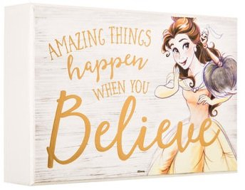 Country Croppers Belle Believe Wood Wall Plaque Decor Beauty and The Beast