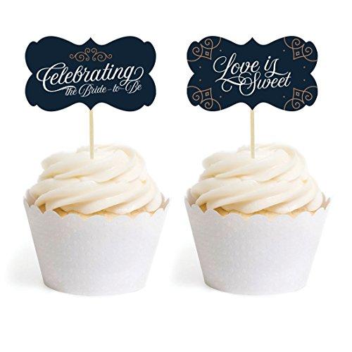 Andaz Press Navy Blue Art Deco Vintage Party Wedding Collection, Cupcake Topper DIY Party Favors Kit, Fancy Frame Shape, -