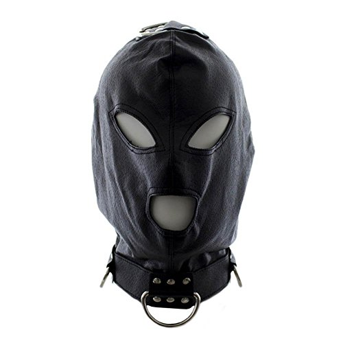 Leather Full Face Gimp Mask Unisex Hood Club Accessories Hood with the Hole for Mouth Maniac Halloween Spooky Eyemasks Disguises for Masquerade, Cosy-L