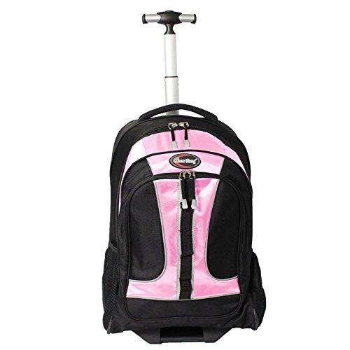 "Green Travel TBP02 - Pink Wheeled Rolling 15.6"" Laptop Backpack, Black/Pink hot sale"