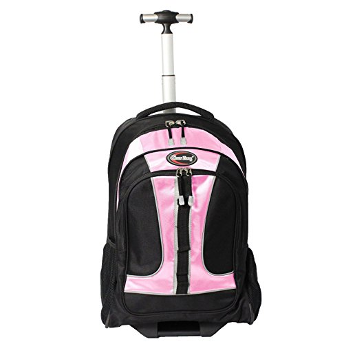 Green Wheeled Backpacks (Green Travel TBP02 - Pink Wheeled Rolling 15.6