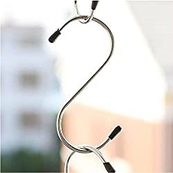Premium 5-Pack Larger Round S Shaped Hooks in Polished Stainless Steel Metal Size