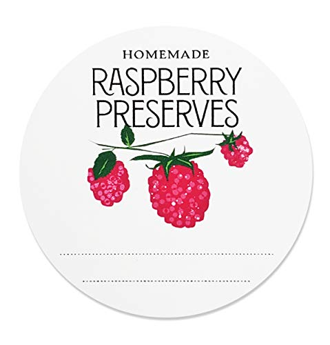 Homemade Raspberry Preserves Jam Jelly Mason Jar Labels, 2