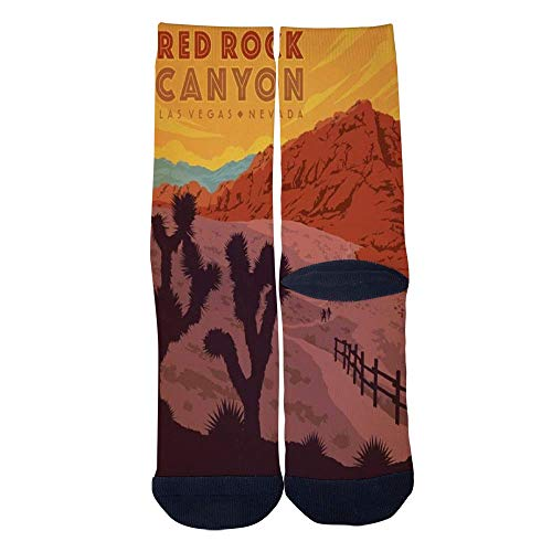 Eletina lee Men S Women S Custom Las Vegas Canyon Nevada Red Rock Socks 3D Print Novel Creative Casual Crew Socks ()