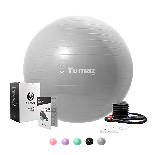 Tumaz Exercise Ball with Quick Pump, ANTI BURST/EXTRA THICK/HEAVY DUTY, Great for Ball Chair, Birth ball, Balance ball, Swiss ball, Pilates, Yoga, and more by Tumaz